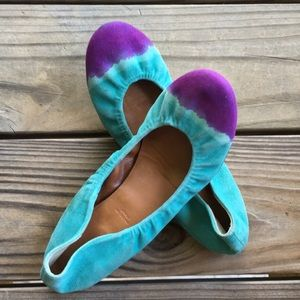 Leifnotes shoes: blue / purple suede leather flats